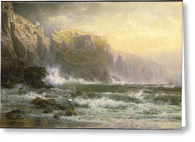 The League Long Breakers Thundering On The Reef Greeting Card by William Trost Richards