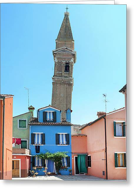 The Leaning Campanile Of Burano Greeting Card by Robert Lacy