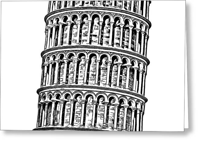 The Leaning Tower Of Pisa Graphic Greeting Card by Edward Fielding