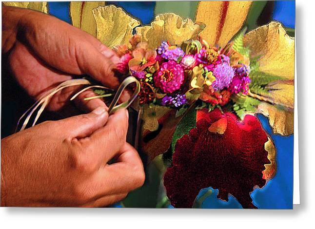 The Lei Maker Greeting Card by Jeff Burgess