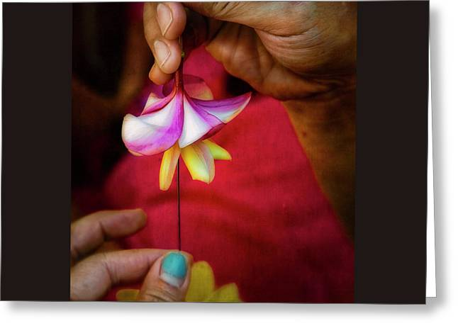 The Lei Maker's Hands Greeting Card