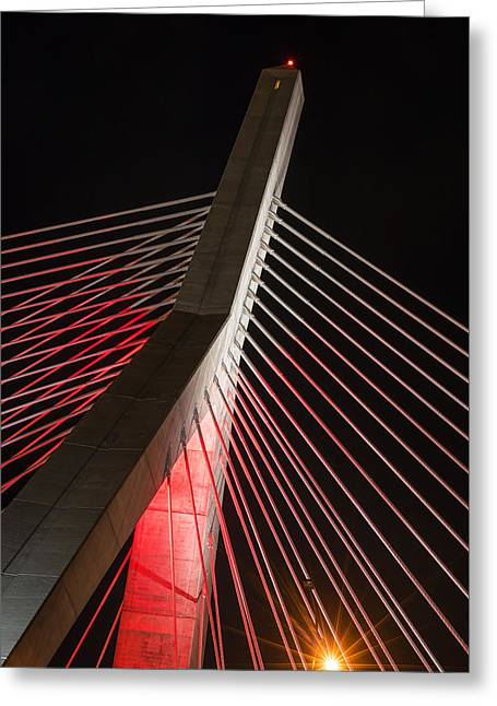 The Lenny Zakim Bridge Lit Up In Red Closeup Greeting Card