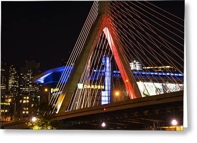 The Lenny Zakim Bridge Lit Up In Red Td Garden Greeting Card