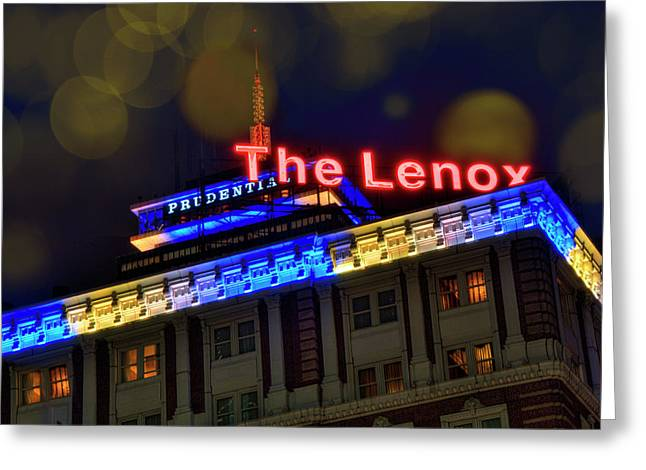 Greeting Card featuring the photograph The Lenox And The Pru - Boston Marathon Colors by Joann Vitali