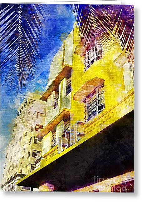 The Leslie Hotel South Beach Greeting Card by Jon Neidert