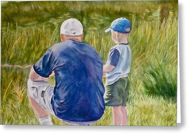 The Lesson With John And Ryker Greeting Card by Sheri Jones