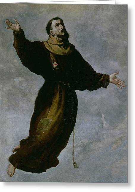 The Levitation Of Saint Francis Greeting Card by Francisco de Zurbaran