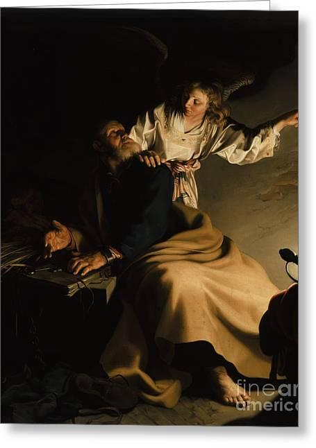 The Liberation Of Saint Peter Greeting Card by Abraham Bloemaert