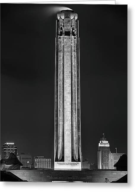 Greeting Card featuring the photograph The Liberty Memorial Black And White by JC Findley