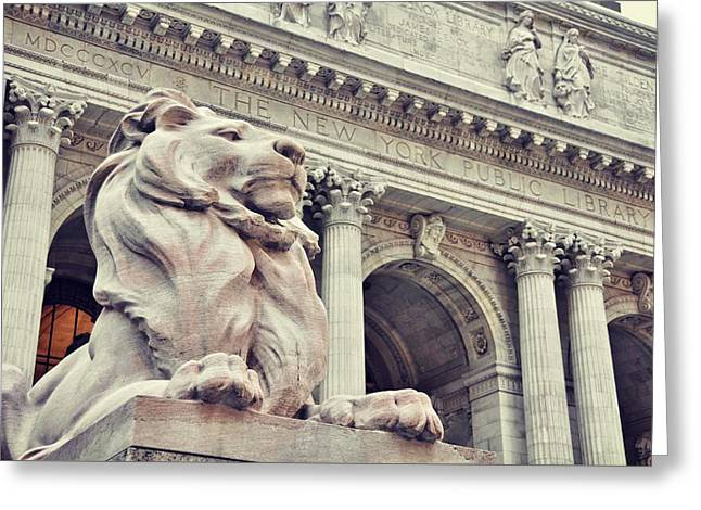The Library Lions Greeting Card by JAMART Photography