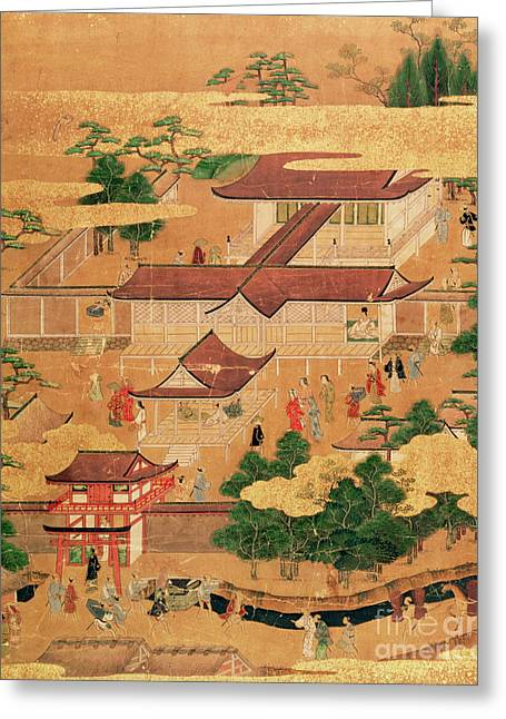 The Life And Pastimes Of The Japanese Court - Tosa School - Edo Period Greeting Card