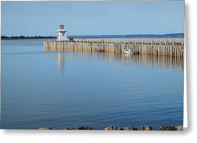 The Lighthouse At Belliveau's Cove Greeting Card by Karen Cook