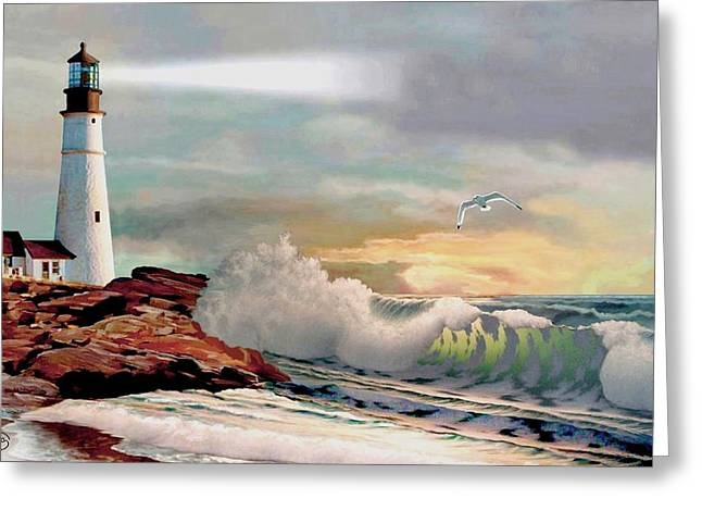The Lighthouse At Portland Head Greeting Card by Ron Chambers