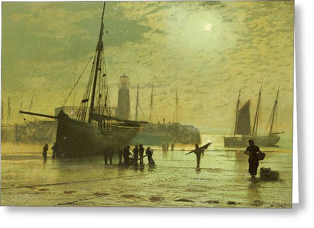 Fishing Boats Greeting Cards - The Lighthouse at Scarborough Greeting Card by John Atkinson Grimshaw