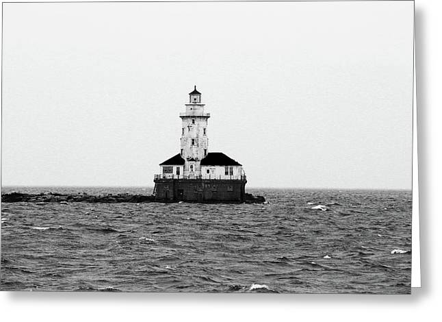 The Lighthouse Black And White Greeting Card