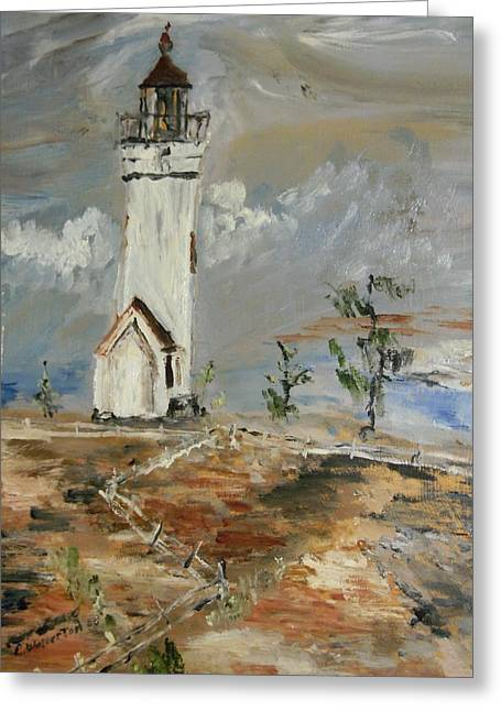 The Lighthouse Greeting Card by Edward Wolverton