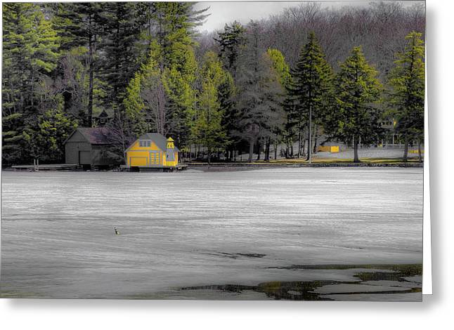 Greeting Card featuring the photograph The Lighthouse On Frozen Pond by David Patterson