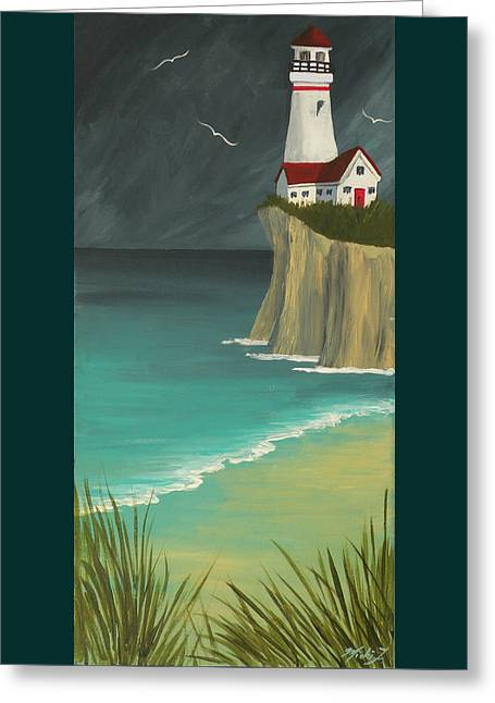 The Lighthouse On The Cliff Greeting Card