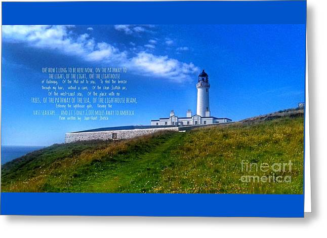 The Lighthouse On The Mull With Poem Greeting Card