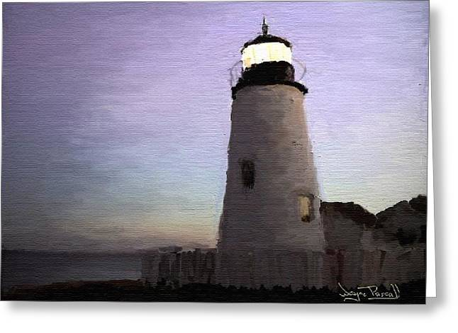 Greeting Card featuring the painting The Lighthouse by Wayne Pascall