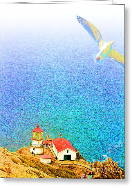 The Lighthouse Greeting Card by Wingsdomain Art and Photography