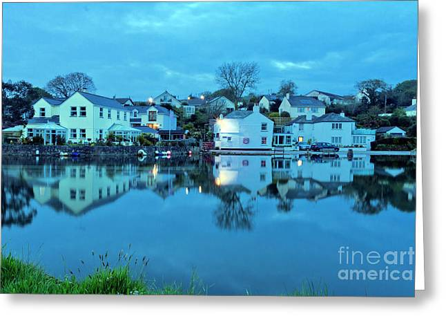 The Lights Come On In Mylor Bridge Greeting Card by Terri Waters