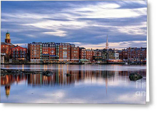 The Lights Come On In Portsmouth Greeting Card by Scott Thorp
