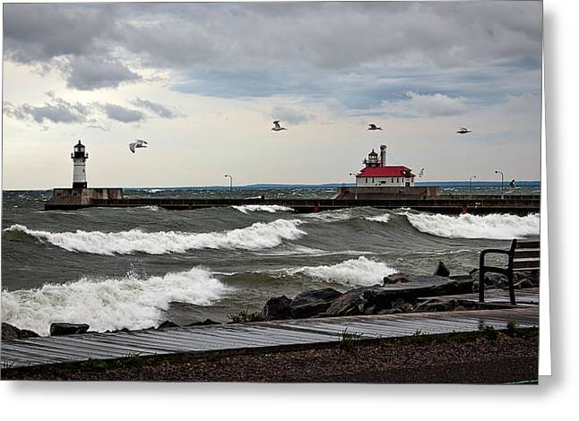 The Lights In The Storm Greeting Card by David Wynia