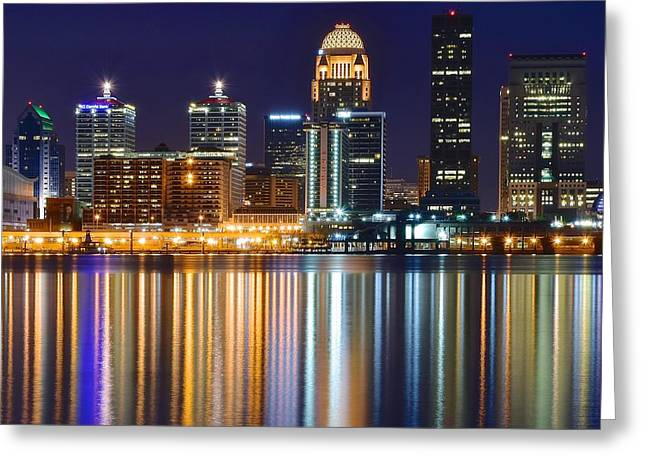 The Lights Of A Louisville Night Greeting Card by Frozen in Time Fine Art Photography