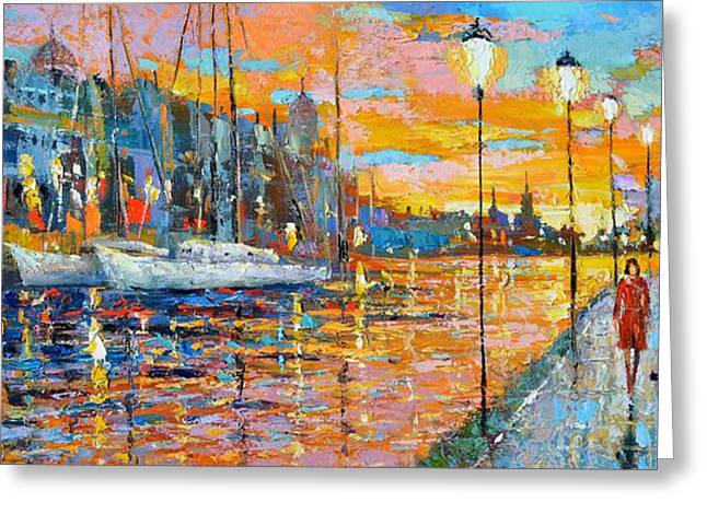 Greeting Card featuring the painting The Lights Of The Stockholm by Dmitry Spiros