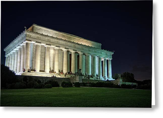 The Lincoln Memorial At Night Greeting Card by Greg Mimbs