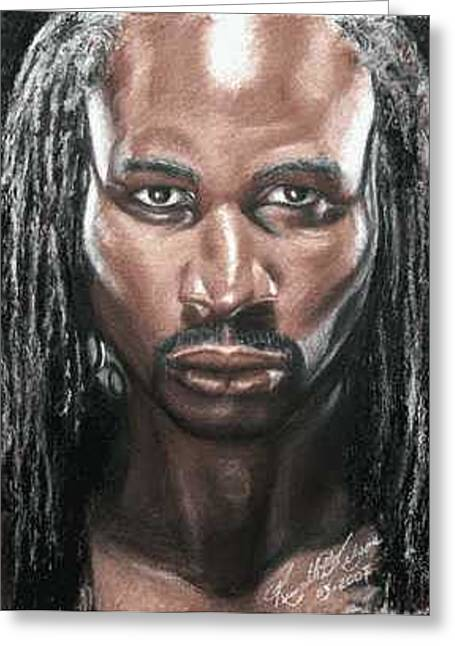 The Lion - Lennox Lewis Greeting Card by Kenneth Kelsoe