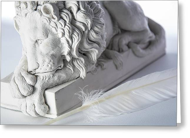 The Lion And The Feather Greeting Card