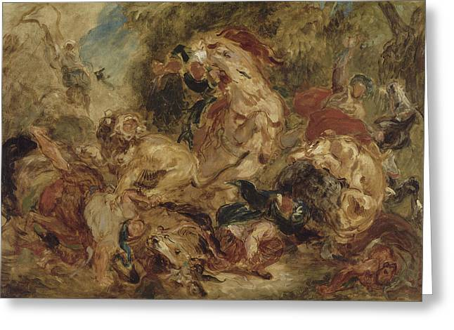 The Lion Hunt Greeting Card by Eugene Delacroix