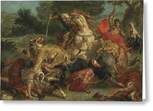 The Lion Hunt Greeting Card by Ferdinand Victor Eugene Delacroix
