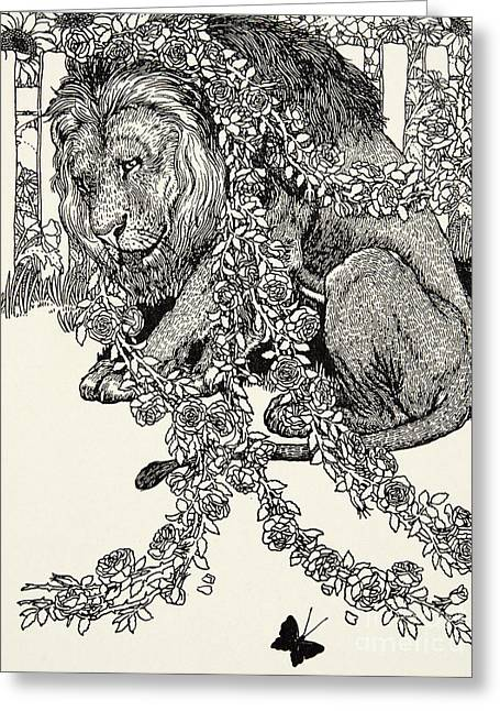 The Lion In Love, From A Hundred Fables Of Aesop Greeting Card