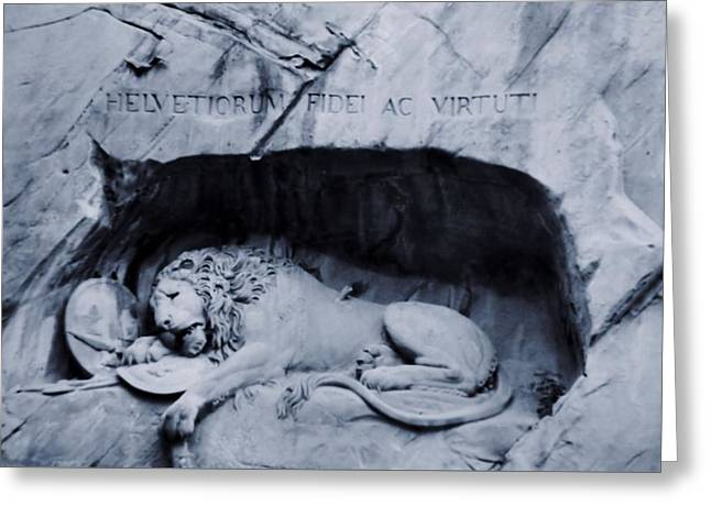The Lion Of Lucerne Greeting Card by Dan Sproul