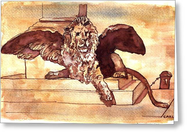The Lion Of Venice Greeting Card by Dan Earle