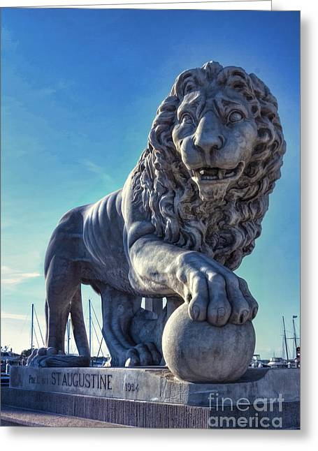 The Lion Painting Greeting Card by C W Hooper