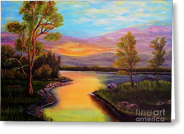 The Liquid Fire Of A Painted Golden Sunset Greeting Card by Kimberlee Baxter