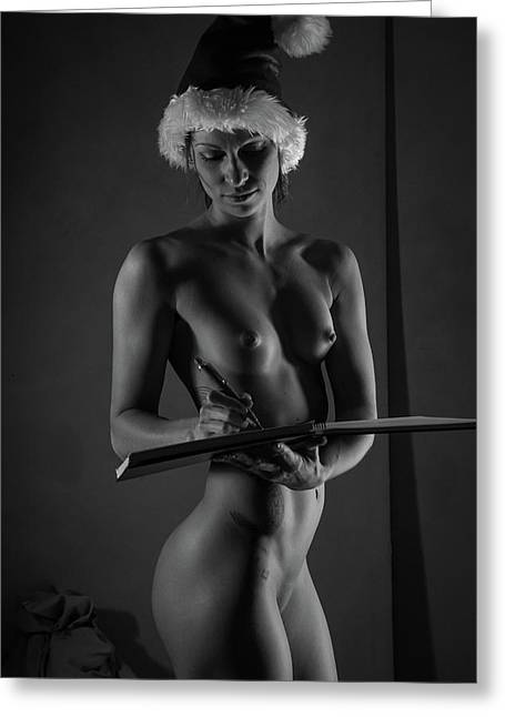 The List II - Sexy Santa Vi Greeting Card by Blue Muse Fine Art