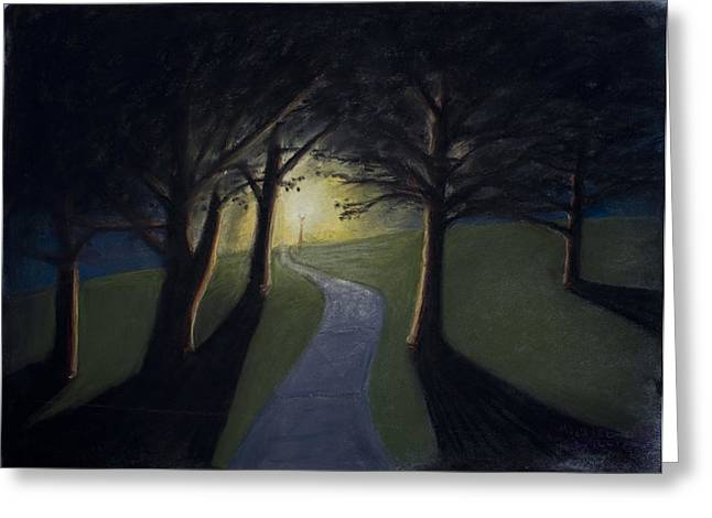 Night Lamp Pastels Greeting Cards - The Lit Path Greeting Card by Michael Williams