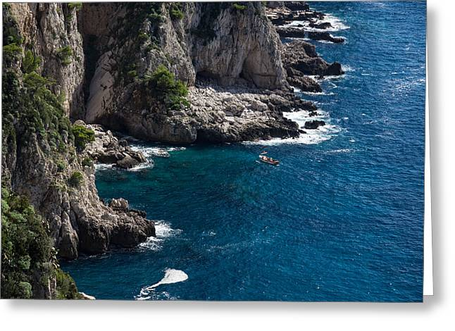 The Little Boat And The Cliff - Azure Waters Magic Of Capri Greeting Card by Georgia Mizuleva