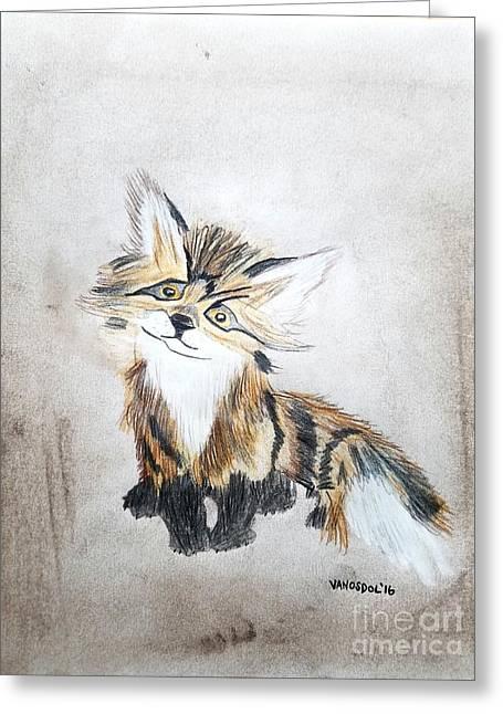The Little Fox - Original Pastels Greeting Card