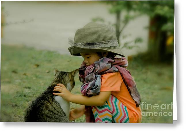 The Little Girl And Her Cat Greeting Card