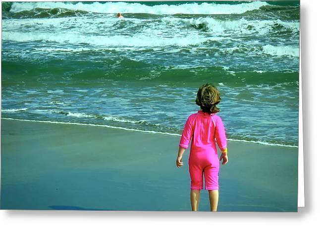 The Little Girl And The Ocean Greeting Card