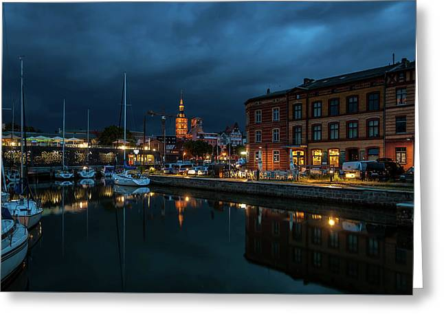 The Little Harbor In Stralsund Greeting Card