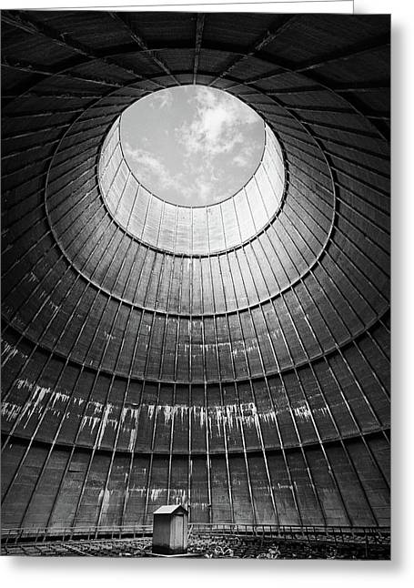 Greeting Card featuring the photograph the little house inside the cooling tower BW by Dirk Ercken