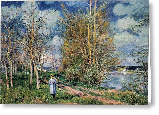 The Little Meadows In Spring Greeting Card by Alfred Sisley