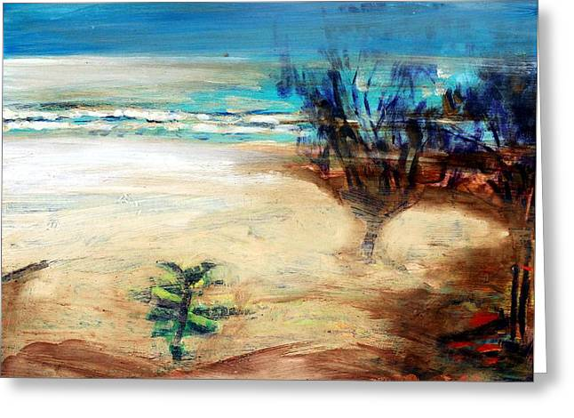 Greeting Card featuring the painting The Little Pine Tree by Winsome Gunning